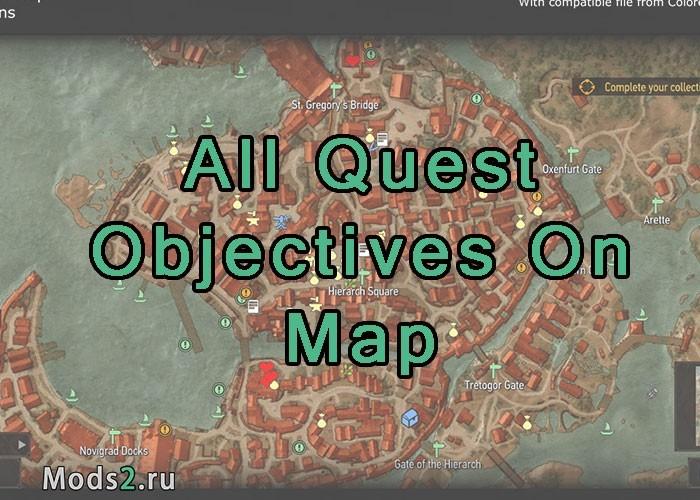 The Witcher Karte.All Quest Objectives On Map Otkryt Vse Kvesty Na Karte